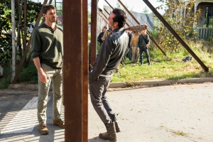 Austin Amelio as Dwight, Norman Reedus as Daryl Dixon, Jeffrey Dean Morgan as Negan, Andrew Lincoln as Rick Grimes - The Walking Dead _ Season 7, Episode 4 - Photo Credit: Gene Page/AMC