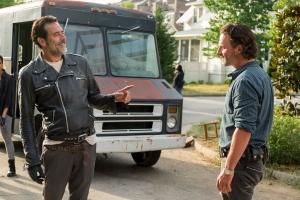 Andrew Lincoln as Rick Grimes, Jeffrey Dean Morgan as Negan- The Walking Dead _ Season 7, Episode 4 - Photo Credit: Gene Page/AMC