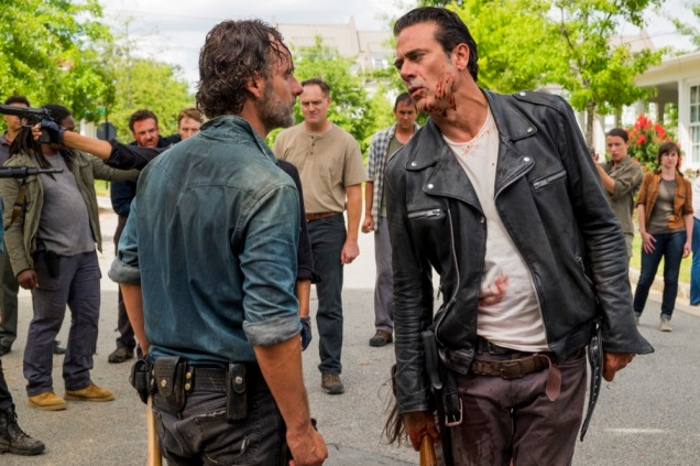Ross Marquand as Aaron, Andrew Lincoln as Rick Grimes, Christian Serratos as Rosita Espinosa, Jeffrey Dean Morgan as Negan - The Walking Dead _ Season 7, Episode 8 - Photo Credit: Gene Page/AMC